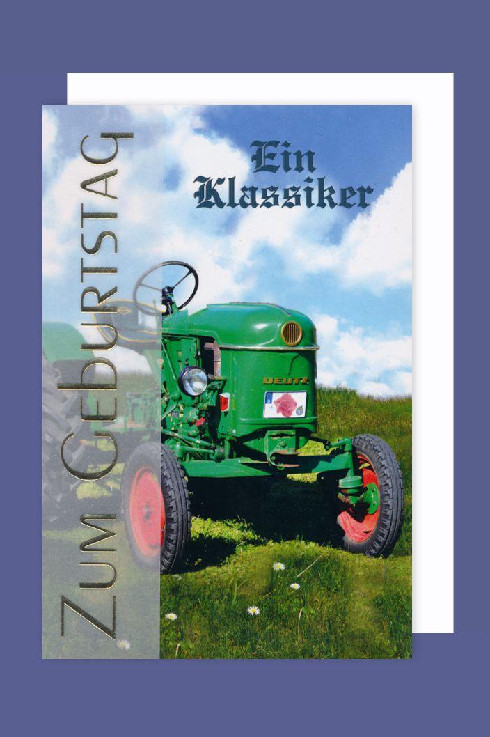 Manner Karte Geburtstag Grusskarte Traktor Klassike Banderole 16x11cm