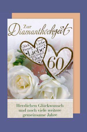 Diamant Hochzeit 60 Karte Grußkarte Textvorschlägen Foliendruck Herzen 16x11cm