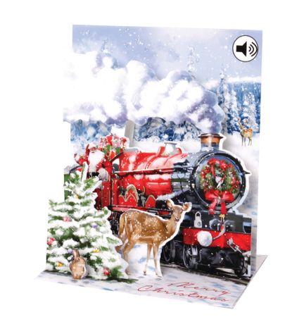SOUND Pop Up 3D Weihnachten Karte PopShot Lokomotive 18x13 cm