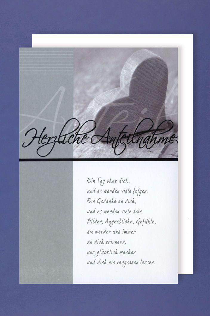 trauer karte Trauer Karte Grußkarte mit schönem Text Herzliche Anteilnahme