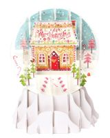 Pop Up 3D Weihnachten Schneekugel Grußkarte PopShot Lebkuchenhaus 9x13cm