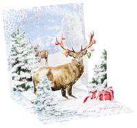 Pop Up 3D Weihnachten Karte PopShot Geschenk Rentier Geweih 13x13 cm