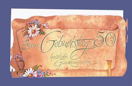 Urkunde 50 Geburtstag A4 Karte Grußkarte Pergament Look Foliendruck
