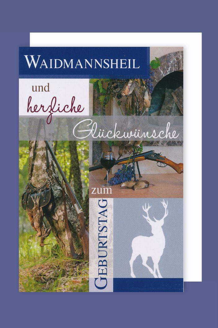 Jager Geburtstag Karte Grusskarte Waidmannsheil Jagdhund 16x11cm