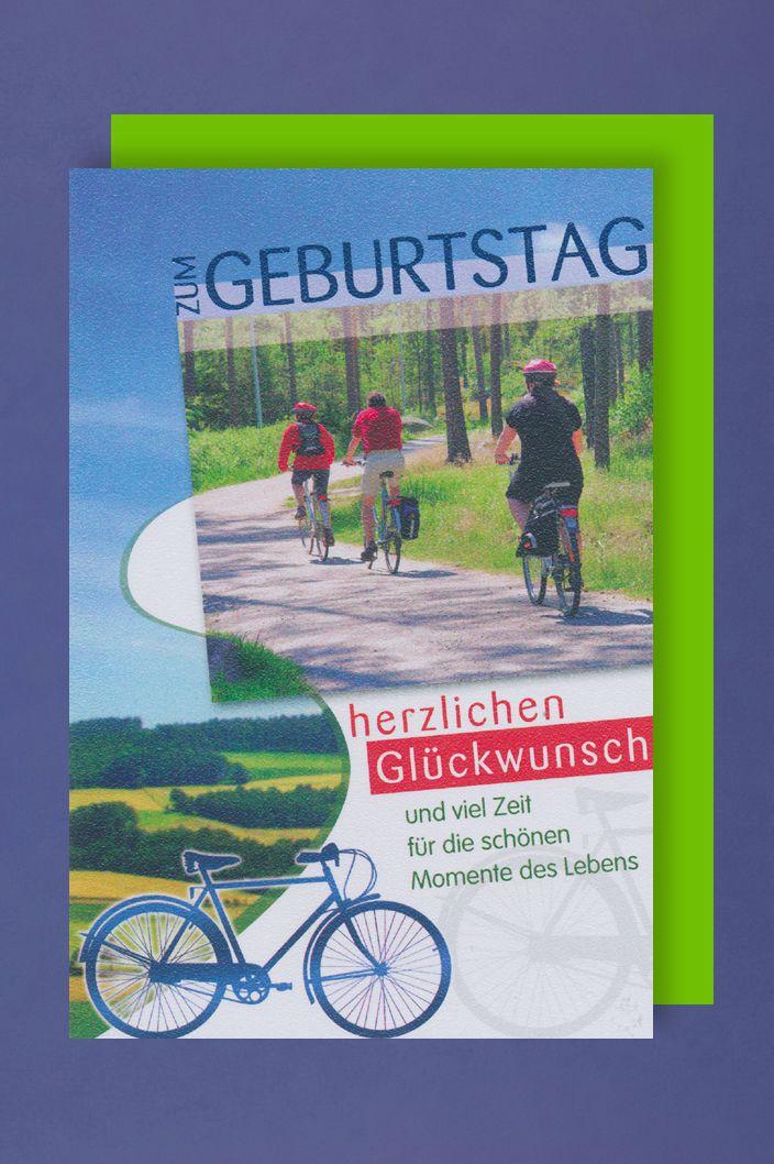 Fahrrad Geburtstag Karte Grußkarte Ausflug Wald Foliendruck 16x11cm