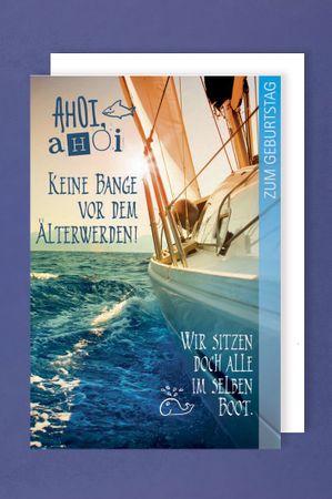 Abenteuer Geburtstag Karte Grußkarte Segel Boot 16x11cm