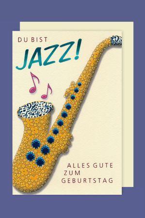 Musik Geburtstag Karte Grußkarte Jazz Musiker Saxophon Foliendruck 16x11cm