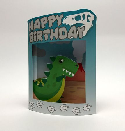 Pop Up 3D Grußkarte Geburtstag Kinder Dino 17x14cm