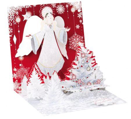 Musterkarte 1261S Pop Up 3D Weihnachten Karte PopShot Engel 13x13 cm