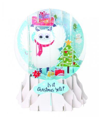 Musterkarte SGM028S Pop Up 3D Weihnachten Schneekugel Grußkarte PopShot Yeti 9x13cm
