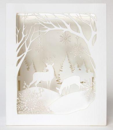 UWP LUXE Weihnachten Pop UP 3D Laser Karte Grußkarte Winter Wunderland 14x11cm
