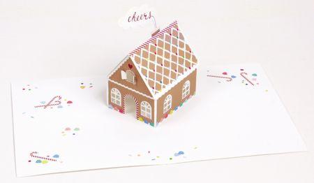 UWP LUXE Weihnachten Pop UP 3D Laser Karte Grußkarte Lebkuchen Haus 14x11cm