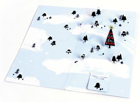 UWP LUXE Weihnachten Pop UP 3D Laser Karte Grußkarte Baum im Wald 20x10cm