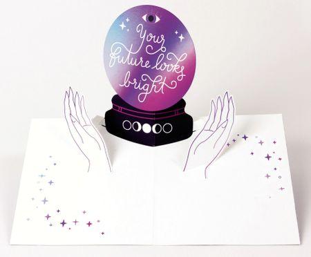 UWP LUXE Geburtstag Pop UP 3D Laser Karte Grußkarte Zukunft Glaskugel 13x11cm