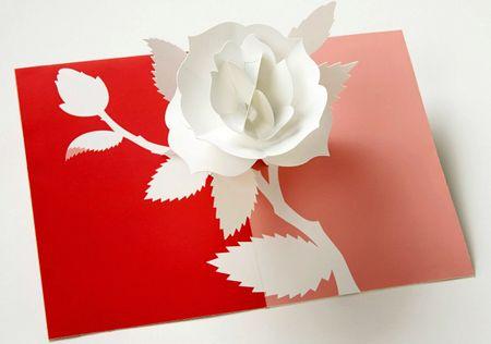 UWP LUXE Geburtstag Pop UP 3D Laser Karte Grußkarte Rose 15x10cm