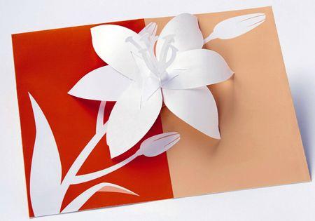UWP LUXE Geburtstag Pop UP 3D Laser Karte Grußkarte Tigerlilie 15x10cm