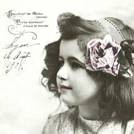 Qualitäts Servietten Vintage Photo Rose im Haar 20x 3-lagig 33x33cm
