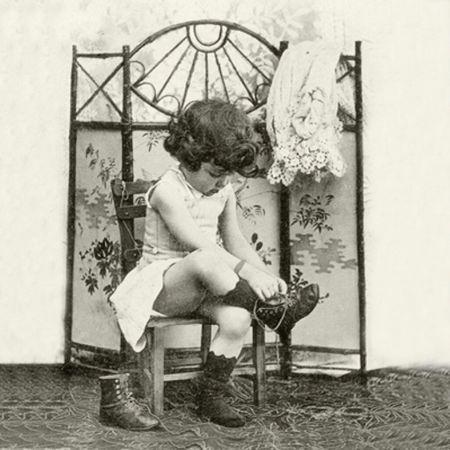 Qualitäts Servietten Vintage Photo Stiefel schnüren 20x 3-lagig 33x33cm