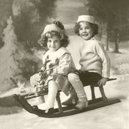 Weihnachten Vintage Servietten Schlittenfahrt 20 Stück 3-lagig 33x33cm