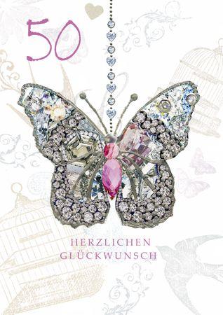 Geburtstag 50 Karte Swarovski Elements Grußkarte Schmetterling 17x12cm