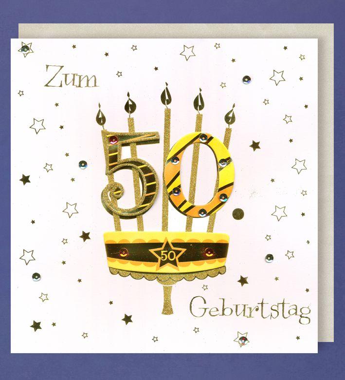 Grußkarte 50 Geburtstag Handmade Applikationen Birthday Kerzen 21x21cm
