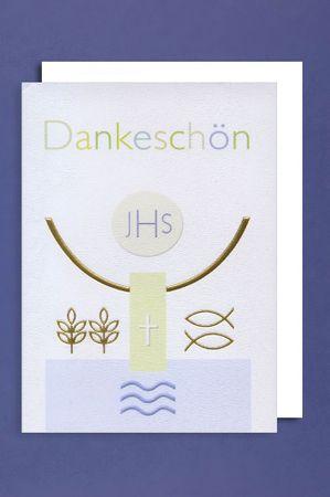 Kommunion Danksagungen Karte 5er Set JHS Symbole 5 Grußkarten C6