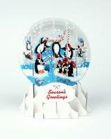 Pop Up 3D Weihnachten Schneekugel Grußkarte PopShot Pinguine 9x13cm