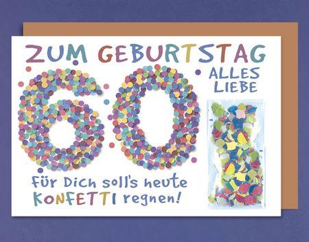 Geburtstag 60 Karte Grußkarte extra Accessoires Konfetti 16x11cm