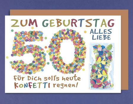 Geburtstag 50 Karte Grußkarte extra Accessoires Konfetti 16x11cm