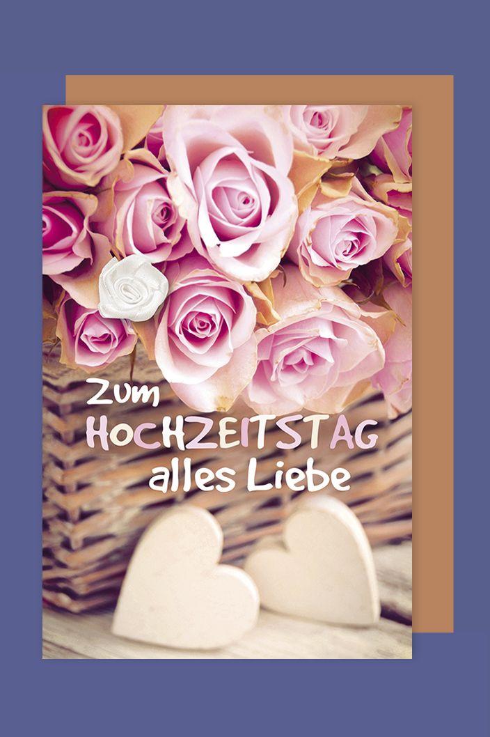 Hochzeitstag Karte Grusskarte Extra Accessoires Stoffblute 16x11cm