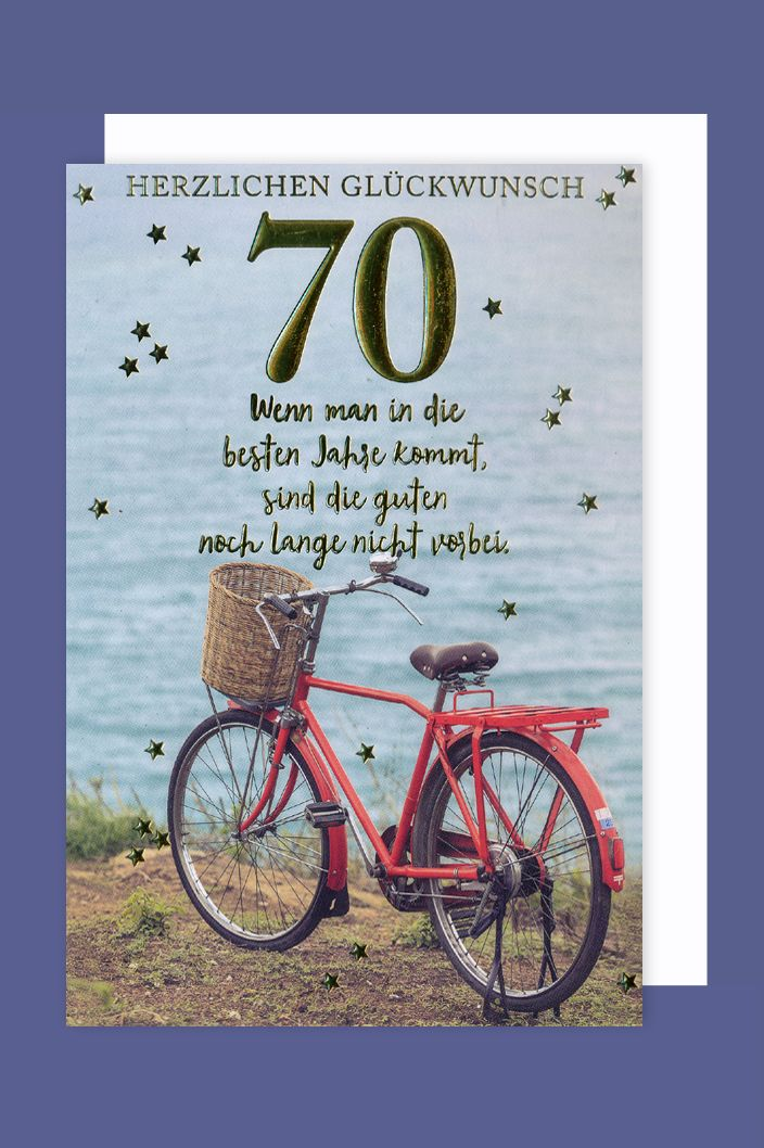 Geburtstag 70 Karte Grußkarte Gold Prägefolien Druck ...