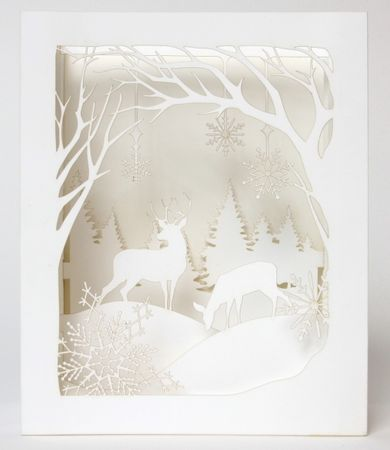 AL020  UWP LUXE Pure Alchemy Pop UP 3D Laser Karte  Winter Wunderland 14x11cm