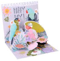 Pop Up 3D Karte Geburtstag Grußkarte Tropische Vogelwelt 13x13cm