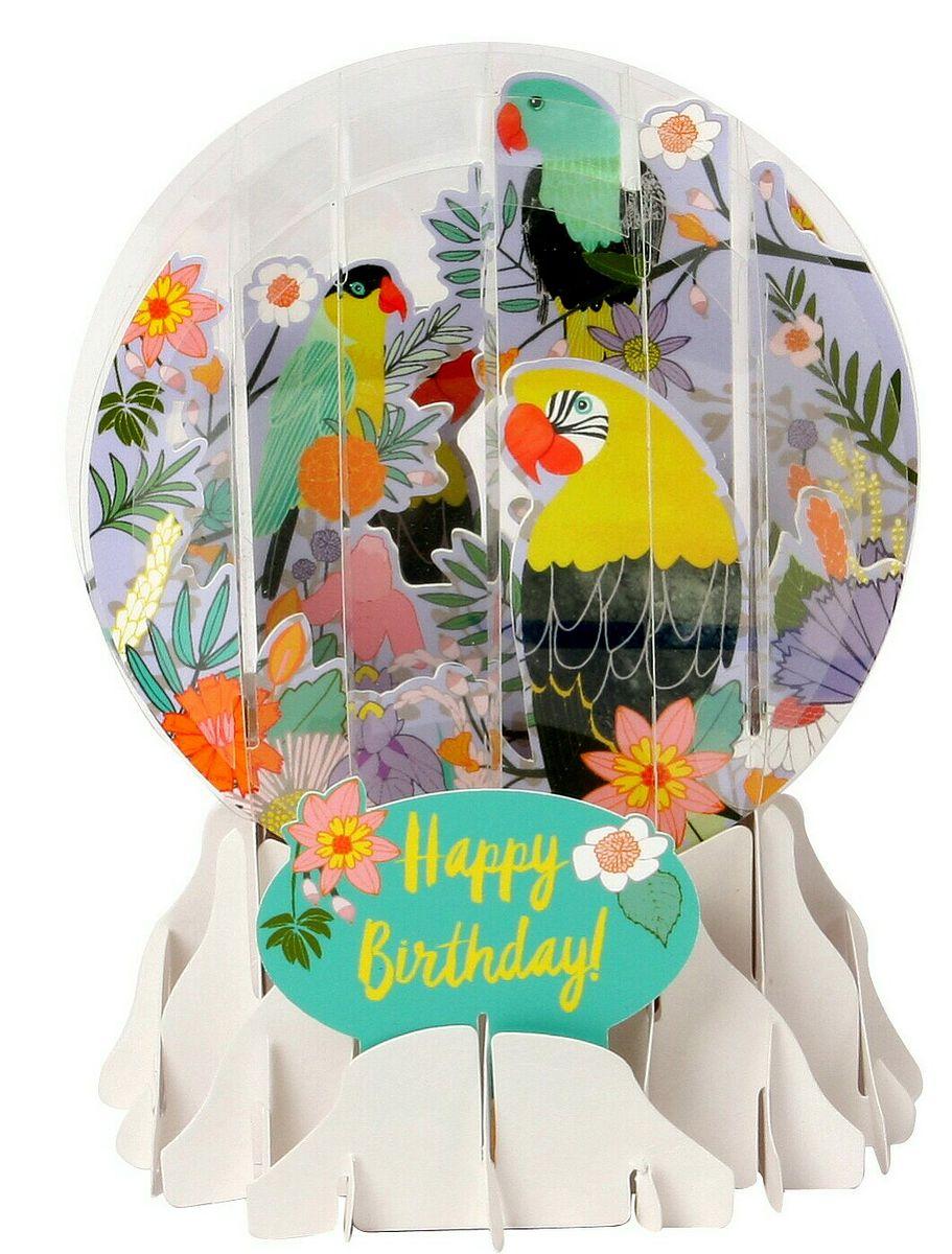 Schneekugel Karte Natur Geburtstag Grusskarte Popshot Papagei 9x13cm
