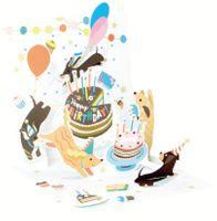 Pop Up 3D Karte mit LICHT Geburtstag Grußkarte Hunde Spielwiese 13x13cm