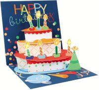 Pop Up 3D Karte mit LICHT Geburtstag Grußkarte Kerzen Kuchen 13x13cm