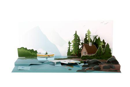 SOUND Pop Up 3D Panorama Karte Geburtstag Grußkarte Seen Natur 10x23 cm