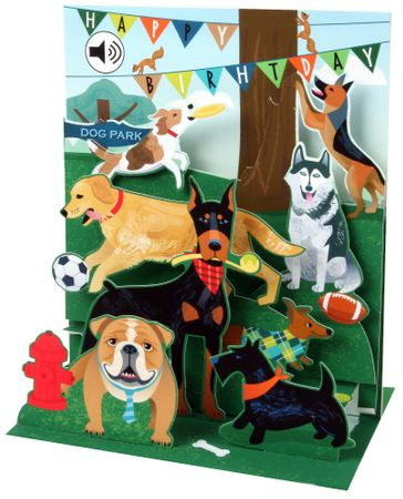SOUND Pop Up 3D Karte Kinder Geburtstag Musik Hunde 18x13cm