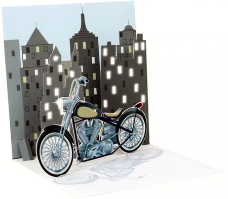 1273LIT Treasure Karte mit LICHT Motorrad 13x13cm