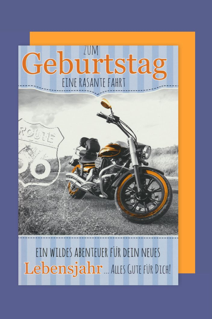 m nner geburtstag biker karte gru karte route 66 motorrad 16x11cm. Black Bedroom Furniture Sets. Home Design Ideas