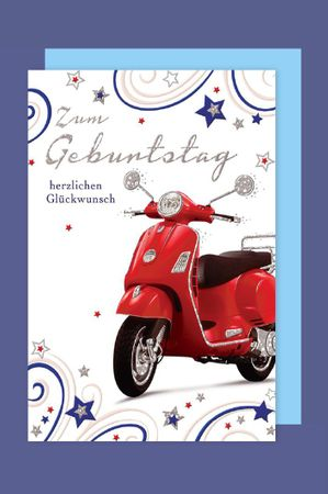 Grußkarte Geburtstag Handmade Applikationen Motorroller 17x11cm