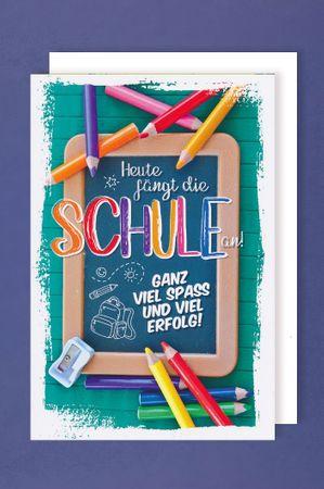 Einschulung Karte Grußkarte Mädchen Junge Stifte Kreidetafel 16x11cm