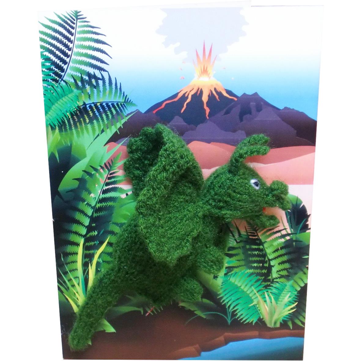 Fingerpuppen Karten Geburtstag Kinder Handgestrickt DINO Triceratops 18x12cm
