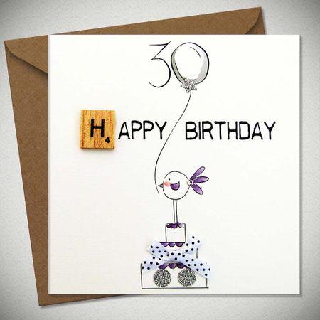 Scrabbel Karten 30 Geburtstag Grußkarte Holz Spielstein Birthday 15x15cm