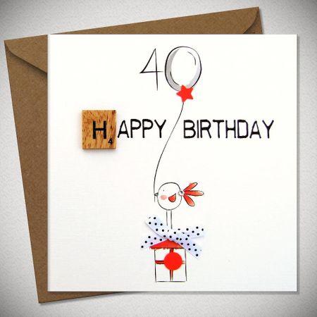 Scrabbel Karten 40 Geburtstag Grußkarte Holz Spielstein Birthday 15x15cm