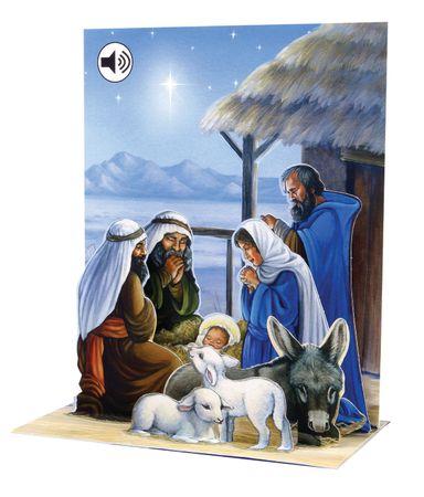 SS045 Sight´n Sound Weihnachtskarte Krippe 18x13 cm