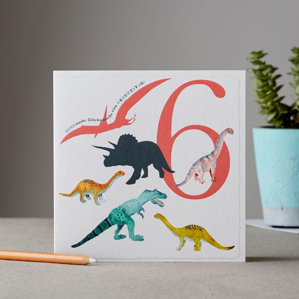 Dino Kinder Karte 6 Geburtstag Grußkarte Dinky Dinosaurier Sechsfach 15x15cm