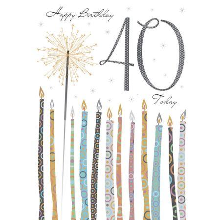 Riesen Grußkarte 40 Geburtstag Karte Glitzer Druck Wunderkerze A4