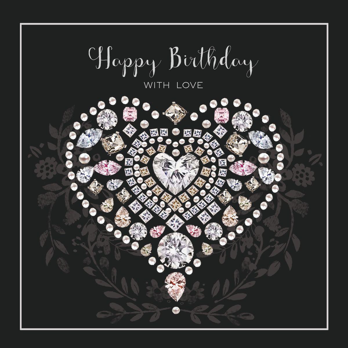 Geburtstag Karte Grußkarte Silber Prägedruck Diamanten Herz 16x16cm