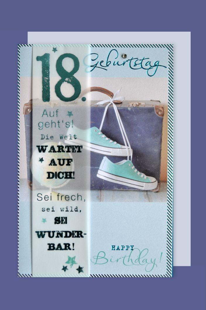 18 Geburtstag Lifestyle Karte Grusskarte Applikation Koffer Reise 16x11cm